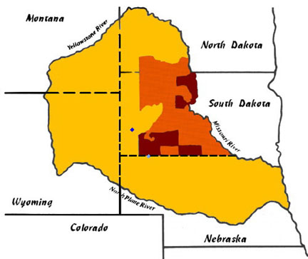 Bản đồ Pine Ridge (South Dakota)